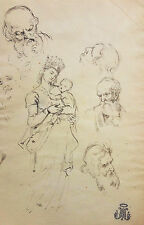 OLD MASTER DRAWING ITALIAN SCHOOL, OLD SEAL, WATERMARKS, INK LAID PAPER