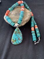 Navajo Pearls Spiderweb Spiny Oys Turquoise Sterling Silver Necklace Pendant 834
