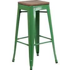 """Flash Furniture 30"""" Backless Green Metal Barstool - CH-31320-30-GN-WD-GG"""