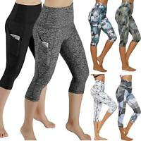 Women Sports Yoga Capri Pants With Pockets High Waist Fitness Hot Gym Leggings