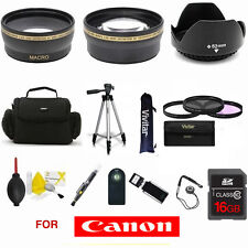 WIDE ANGLE LENS + TELEPHOTO ZOOM LENS 16GB SD CARD KIT FOR CANON EOS REBEL DSLR