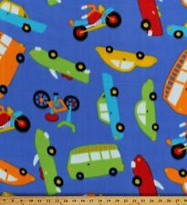 Cars Buses Motorcycles Bikes Kids Vehicles on Blue Fleece Fabric Print A336.15
