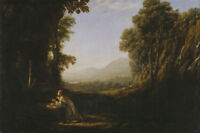 """perfect 36x24 oil painting handpainted on canvas """"Saint Mary and landscape""""N8708"""