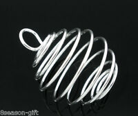 Wholesale Lots HX Silver Plated Spiral Bead Cages Pendants 29x24mm
