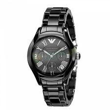 100% NEW EMPORIO ARMANI $545 Unisex Black Ceramic Chronograph Watch AR1401