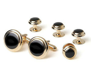 Two Tier Genuine Onyx Formal Cufflinks and Studs Set in Gold or Silver