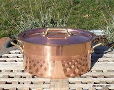 Villedieu Copper 4 Qt Oval Dutch Oven w/ tin lining, 2.1 mm,  Made in France