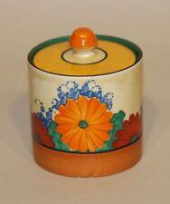 1930 Clarice Cliff England Bizarre Gayday Preserve Pot Jam Jar Spoon Notch Lid
