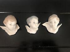 Set of 3 Lladro Retired Angel Head Wall Mount Busts