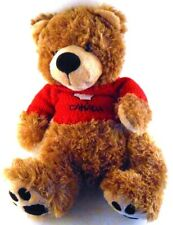 """Creature Comforts 16"""" Brown Teddy Bear in Red Canada Canadian Maple Leaf Sweater"""