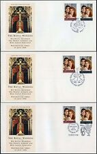 1986 Royal Wedding Andrew + Sarah FDC... London CAMPANE + CITY 3 diverse speciali
