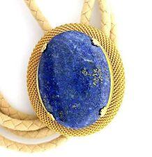 Natural Oval 40x30 Lapis Lazuli Cab Cabochon Gemstone Bolo Tie Cord Tips EPBT73N