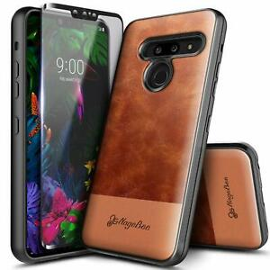 For LG G8 ThinQ Case Shockproof Leather Phone Cover + Tempered Glass Protector
