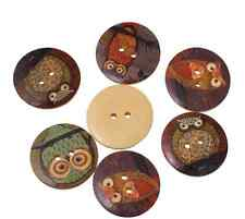 10 15mm Wooden Owl Buttons 2 Hole Flatback Sewing Craft UK SELLER SMALL Projects