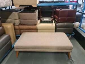 Ex-display designer beige fabric large footstool