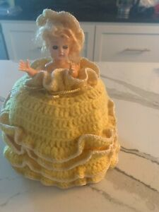 Yellow Vintage Crocheted Dress Toilet Paper Holder Doll with Movable Arms Retro