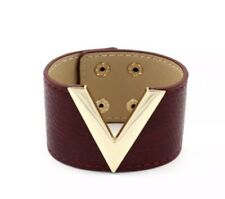 WOMENS LEATHER CUFF BRACELET WRISTBAND GOLD METAL V ACCENT WITH SNAP CLOSURE