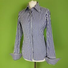 Thomas Pink Womens Shirt Collared Blue Striped Stretch UK 12 Slim Double Cuff
