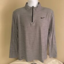 Nike Mens Dri-Fit Base Layer Long Sleeve Shirt 1/4 Zip Medium Gray Free Shipping