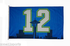 Seattle Seahawks Fan 12th man Flags 12 with Seattle Space needle 3x5 feet