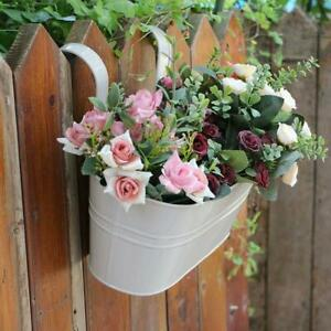 Plant Flower Pot Fence Balcony Garden Hanging Planter Decor Home Metal Pots T1C9
