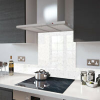 Premier Range White Cosmos Glass Splashback - 70cm Wide x 70cm High