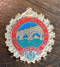 Vintage Hub City Curling Club Saskatoon Saskatchewan Canada Pin