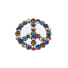 Ø6,9cm Patch Aufnäher bunt Bügelbild Peace Frieden Symbol Blumen