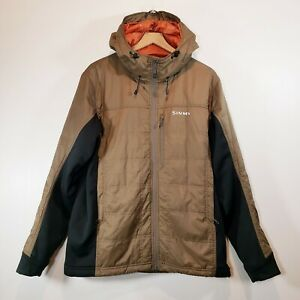 RARE Simms Fishing Mens LARGE (L) Hooded Primaloft Insulated Hybrid Jacket Olive