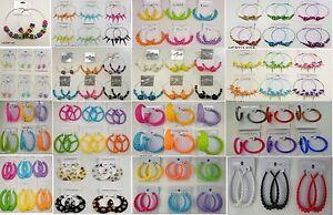 Wholesale Jewelry lot 10  pairs Beautiful Color Fashion Hoop Earrings  Su-195