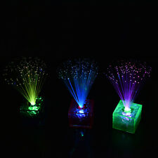 7-Color Changing Optical Fiber Flashing LED Cube Night Light Lamp Party Gift GT
