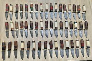 LOT OF 50   6''CUSTOM DAMASCUS STEEL  HUNTING KNIFE  WOOD+BONE HANDLE PAK-3042
