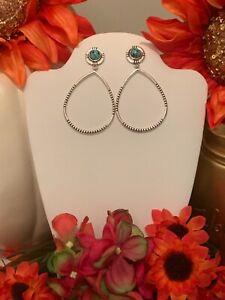 925 Sterling Silver Teardrop Dangle Retro Turquoise Stud Type pendant Earrings