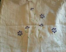 """Pottery Barn Embroidered Purple corn Flower 100% Linen square 18"""" Pillow Cover"""
