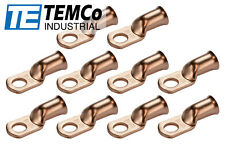"10 Lot 1/0 3/8"" Hole Ring Terminal Lug Bare Copper Uninsulated Awg Gauge"