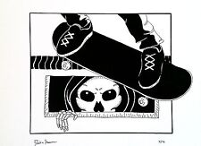 Don't Fear The Death Box - Original Drawing - Pool Skateboarding Skull Art