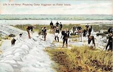 c.1907 Life in Army:  Preparing Camp Higginson on Fishers Island LI NY post card