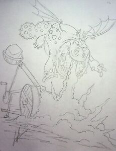 HOW TO TRAIN YOUR DRAGON Production SIGNED LEN SIMON Hand Drawn Book Page #NN