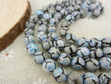 Tibetan Dzi 10mm Faceted Football Blue Agate Gemstone Loose beads 15 inches