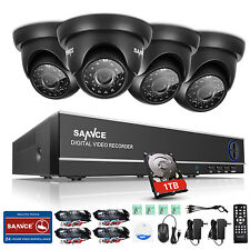 SANNCE 8CH 1080N 5in1 CCTV DVR 720P Outdoor Dome Camera Security System 1TB HDD