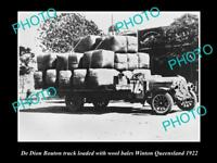OLD LARGE HISTORIC PHOTO OF WINTON QLD, A DE DION BOUTON TRUCK WITH WOOL c1922