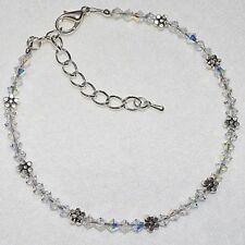 AB Swarovski Crystal Elements Daisy Chain Flower Wedding Ankle Bracelet Anklet