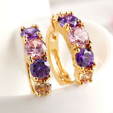 Fashion Women 18K Gold Filled CZ Sparkle Sapphire Ear Stud Earrings Hoop Jewelry