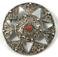 Antique Brooch Pendant Silver Filigree Sterling Vintage Pin Vtg 925 Front Marked