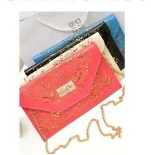 LOCK CUTOUT ENVELOPE CLUTCH PURSE SHOULDER HANDBAG CHAIN BLACK PINK GREEN WHITE