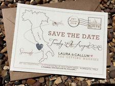 10 Save the Dates • Vintage Postcard • Destination/Abroad • Map Glitter Heart