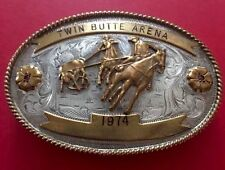 VINTAGE STERLING SILVER **1974 TWIN BUTTE ARENA* CALF ROPING TROPHY BELT BUCKLE