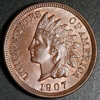 1907 INDIAN HEAD CENT - AU BU UNC - With A TOUCH OF MINT LUSTER!
