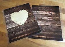 Wood Grain Lace Heart Front & Back Cover Set 4 use w/ Erin Condren Planner