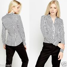 BUSINESS STYLISH STRETCH LONG SLEEVE STRIPED BUTTON BLOUSES WHITE SHIRT / 712